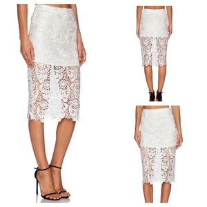 Blaque Label Boho Lace Pencil Skirt in White Small